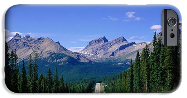 Thoroughfare iPhone Cases - Road In Canadian Rockies, Alberta iPhone Case by Panoramic Images