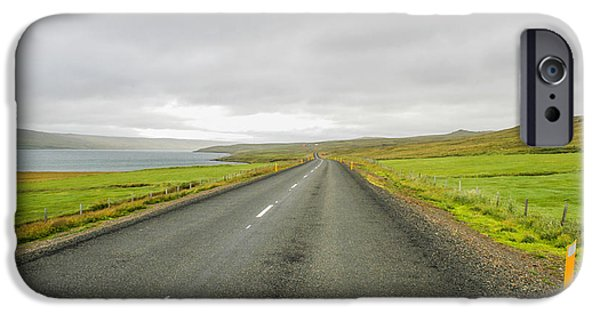 Asphalt iPhone Cases - Road in Iceland iPhone Case by Patricia Hofmeester