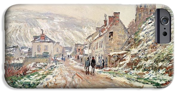 Exploring Paintings iPhone Cases - Road in Vetheuil in winter iPhone Case by Claude Monet