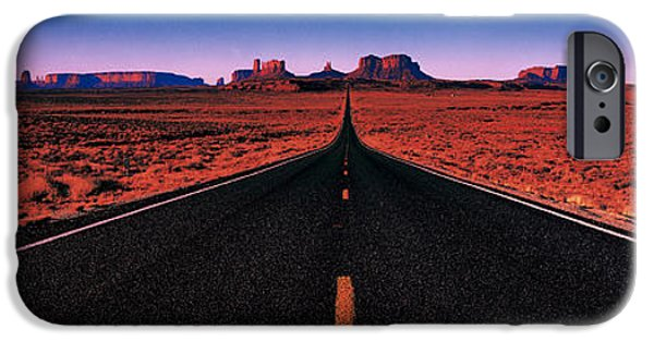 Black Top iPhone Cases - Road Monument Valley Tribal Park Ut Usa iPhone Case by Panoramic Images