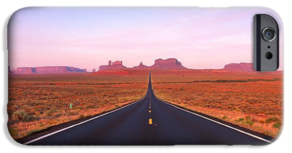 Red Rock iPhone Cases - Road Monument Valley, Utah, Usa iPhone Case by Panoramic Images