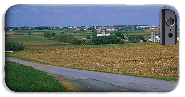 Amish iPhone Cases - Road Passing Through A Field, Amish iPhone Case by Panoramic Images