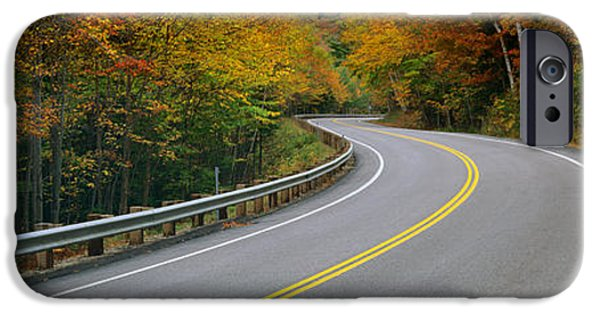 New Hampshire Fall Scenes iPhone Cases - Road Passing Through A Forest, Winding iPhone Case by Panoramic Images