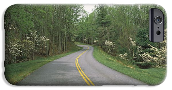 Asphalt iPhone Cases - Road Passing Through A Landscape, Blue iPhone Case by Panoramic Images