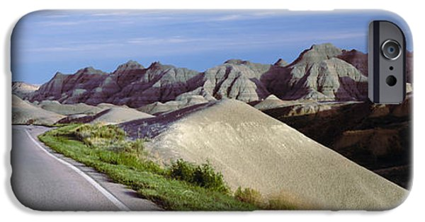 The Way Forward iPhone Cases - Road Passing Through The Badlands iPhone Case by Panoramic Images