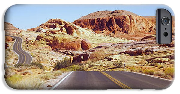 The Way Forward iPhone Cases - Road Passing Through The Valley Of Fire iPhone Case by Panoramic Images