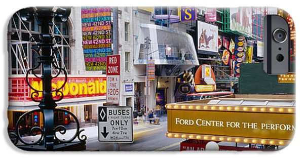 42nd Street iPhone Cases - Road Running Through A Market, 42nd iPhone Case by Panoramic Images