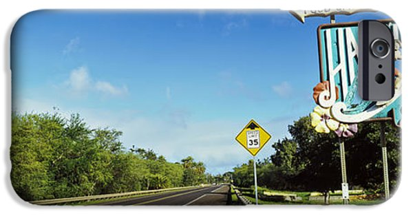 The Way Forward iPhone Cases - Road Sign At The Roadside, Haleiwa iPhone Case by Panoramic Images