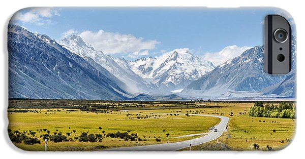 Nature Scene iPhone Cases - Road to Aoraki iPhone Case by Delphimages Photo Creations