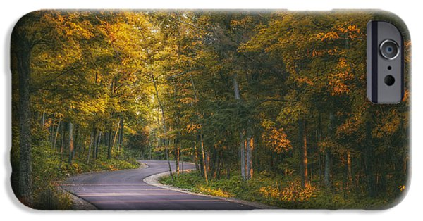 Asphalt iPhone Cases - Road to Cave Point iPhone Case by Scott Norris