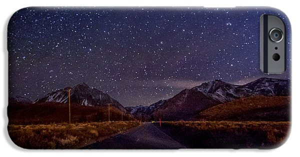 Night Photography iPhone Cases - Road to Convict Lake iPhone Case by Cat Connor