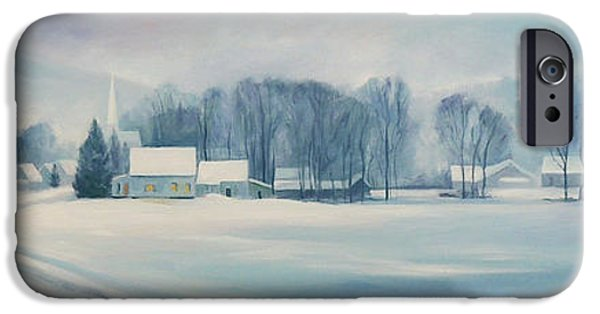 New England Snow Scene iPhone Cases - Road to Felchville Vermont iPhone Case by Nancy Griswold