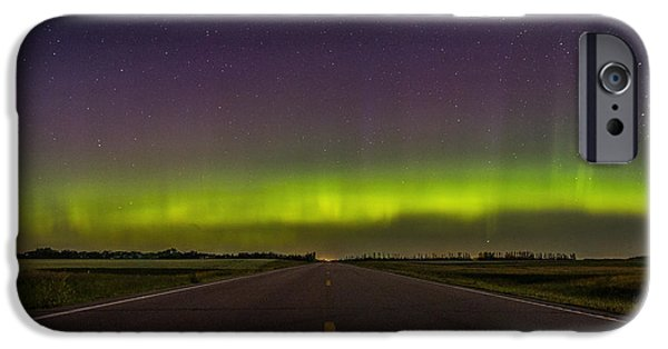 Aurora iPhone Cases - Road to Nowhere - Aurora Borealis iPhone Case by Aaron J Groen