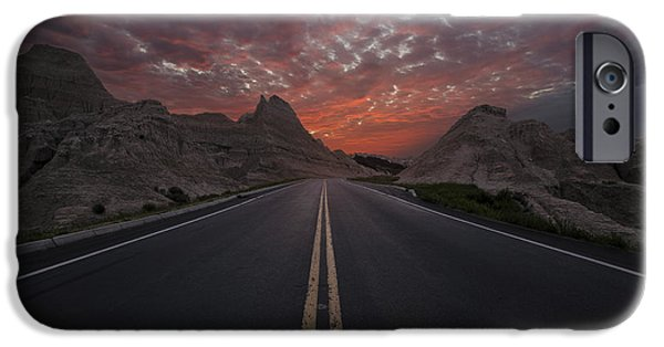 Badlands iPhone Cases - Road to Nowhere Badlands iPhone Case by Aaron J Groen