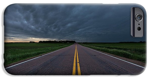 Storm iPhone Cases - Road to Nowhere Storm Chase iPhone Case by Aaron J Groen