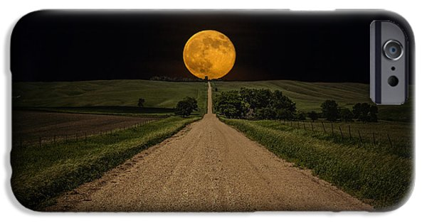 Dark Sky iPhone Cases - Road to Nowhere - Supermoon iPhone Case by Aaron J Groen