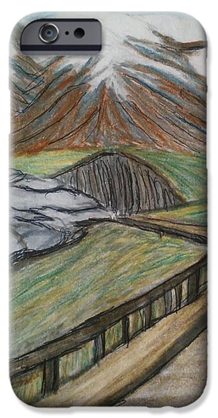 Snow-covered Landscape Drawings iPhone Cases - Road to Sky Lodge iPhone Case by Christine Degyansky