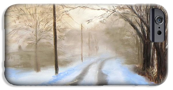 Fog Mist Pastels iPhone Cases - Road to the Ice House iPhone Case by Jack Skinner