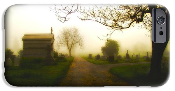 Cemetary Digital Art iPhone Cases - Road To The Mausoleum iPhone Case by Gothicolors Donna Snyder
