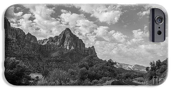 Michael Versprill iPhone Cases - Road To Zion BW iPhone Case by Michael Ver Sprill