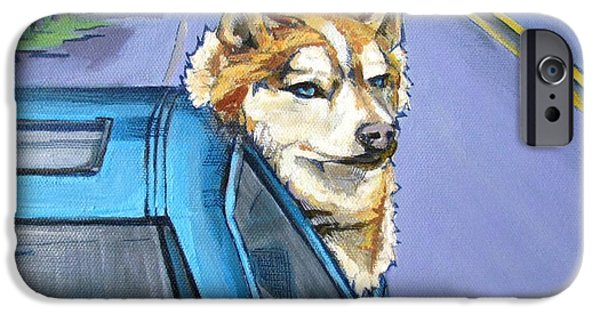 Husky Drawings iPhone Cases - Road-Trip - Dog iPhone Case by Grace Liberator