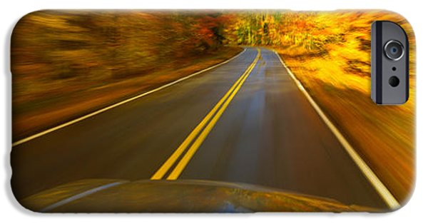 The Way Forward iPhone Cases - Road Viewed Through The Windshield iPhone Case by Panoramic Images