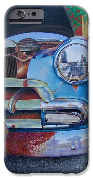Rust Drawings iPhone Cases - Road Warrior iPhone Case by Pamela Clements