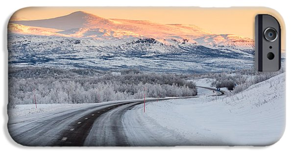 Wintertime iPhone Cases - Road With Frozen Landscape, Extreme iPhone Case by Panoramic Images