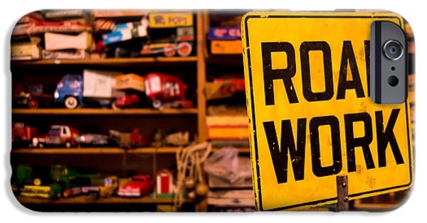 Toy Store Photographs iPhone Cases - Road Work Sign iPhone Case by Amy Cicconi