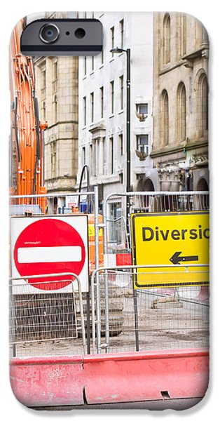 Traffic Sign iPhone Cases - Road works  iPhone Case by Tom Gowanlock