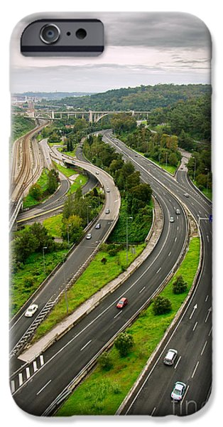 Asphalt iPhone Cases - Roads Top View iPhone Case by Carlos Caetano