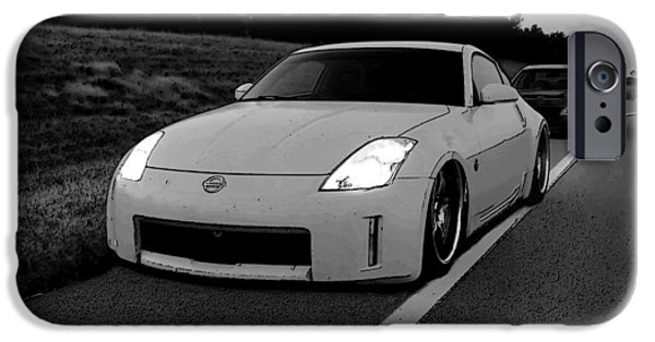Bad Ass iPhone Cases - Roadside Attraction 350Z iPhone Case by Rolling Art Studio