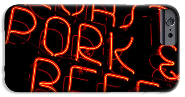 Sign iPhone Cases - Roast Pork and Beef iPhone Case by Olivier Le Queinec