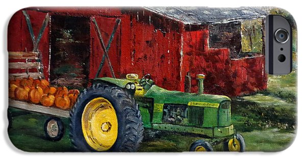 Crops iPhone Cases - Rob Smiths Tractor iPhone Case by Lee Piper