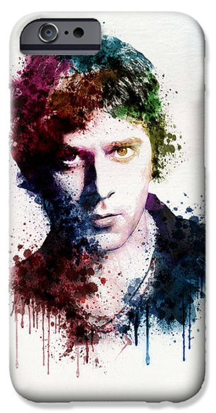 Red Rock Mixed Media iPhone Cases - Rob Thomas watercolor portrait iPhone Case by Marian Voicu