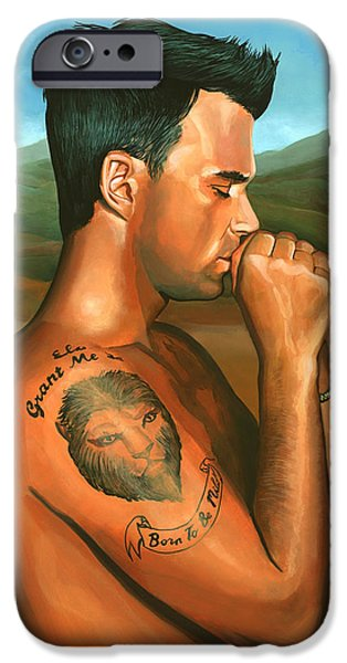 Celebrities Art iPhone Cases - Robbie Williams 2 iPhone Case by Paul  Meijering