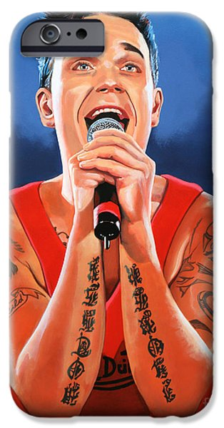 Celebrities Art iPhone Cases - Robbie Williams iPhone Case by Paul  Meijering