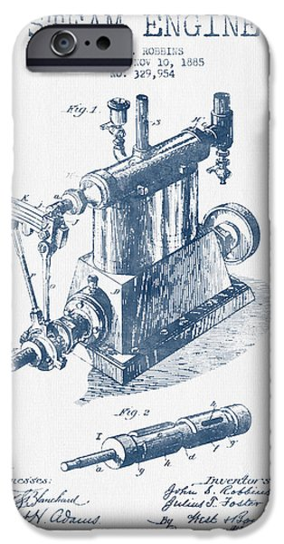 Steam iPhone Cases - Robbins Steam Engine Patent Drawing From 1885 - Blue Ink iPhone Case by Aged Pixel