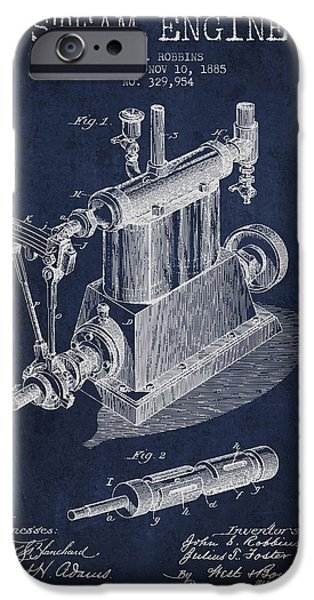 Steam Engine iPhone Cases - Robbins Steam Engine Patent Drawing From 1885 - Navy Blue iPhone Case by Aged Pixel