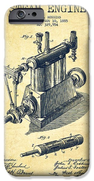 Steam Engine iPhone Cases - Robbins Steam Engine Patent Drawing From 1885 - Vintage iPhone Case by Aged Pixel