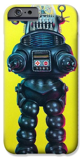 Science Fiction Pastels iPhone Cases - Robby the Robot iPhone Case by Brent Andrew Doty