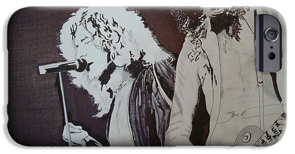 Robert Plant Print iPhone Cases - Robert and Jimmy iPhone Case by Stuart Engel