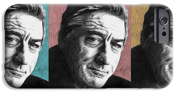 Robert De Niro Drawings iPhone Cases - Robert De Niro - 3up One Print iPhone Case by Alexander Gilbert
