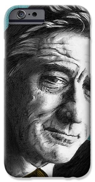 Robert De Niro Drawings iPhone Cases - Robert De Niro - Individual Blue iPhone Case by Alexander Gilbert