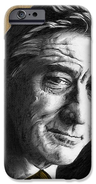 Robert De Niro Drawings iPhone Cases - Robert De Niro - Individual Orange iPhone Case by Alexander Gilbert