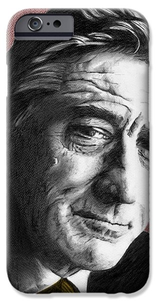 Robert De Niro Drawings iPhone Cases - Robert De Niro - Individual Red iPhone Case by Alexander Gilbert