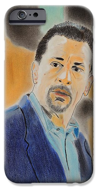 Robert De Niro Pastels iPhone Cases - Robert De Niro  iPhone Case by David Briot