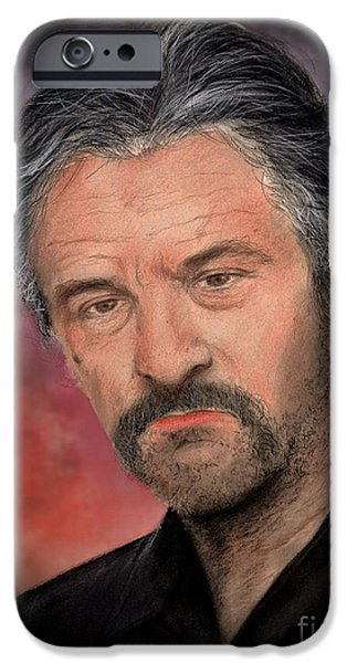 Robert De Niro Mixed Media iPhone Cases - Robert De Niro in Jackie Brown Version II iPhone Case by Jim Fitzpatrick