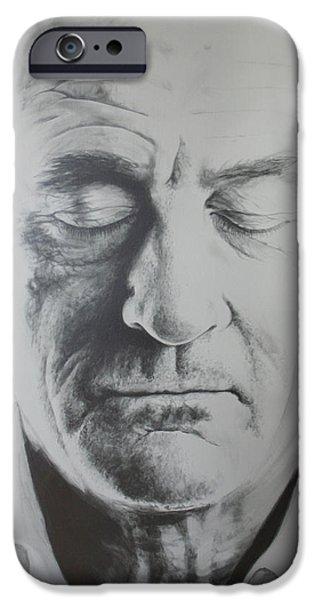 Robert De Niro Paintings iPhone Cases - Robert de Niro Painting iPhone Case by Bruce McLachlan