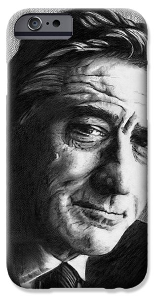 Robert De Niro Drawings iPhone Cases - Robert De Niro - Pencil iPhone Case by Alexander Gilbert